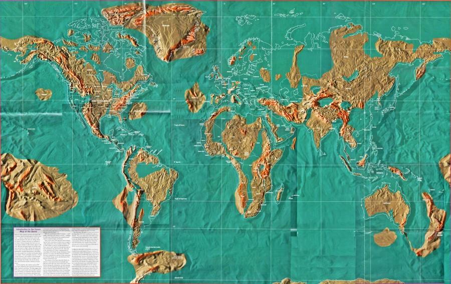 Атлантида - посередині.  Також на карті можна побачити, як будуть виглядати материки, якщо прогноз збудеться.  Зліва - Америка.  Праворуч - Європа і Африка.